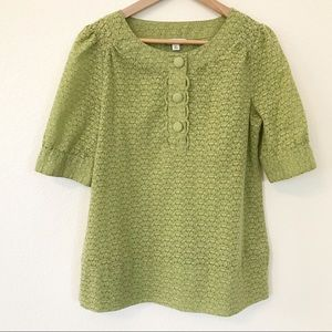 Banana Republic semi sheer SS green top Medium